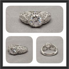 Detailed Art Deco Style Halo Sterling Silver Fine Quality Round Cubic Zirconia, Engagement Ring, Anniversary Ring