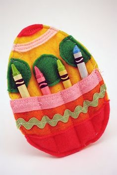 Cute egg crayon holder that could go in the activity basket. Make several and attach to each other with a ribbon.