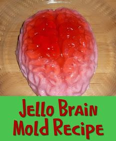 Jello Brain Mold Recipe aka Jelly Brain with directions in US and UK recipes for halloween Theme Halloween, Halloween Dinner, Halloween Goodies, Halloween Desserts, Halloween Food For Party, Halloween Treats, Zombie Party, Halloween Birthday, Halloween Recipe