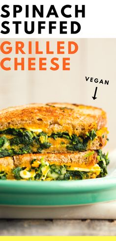 Spinach-Loaded Grilled Cheese Sandwich with garlic, melty vegan cheese, tomato and crispy-edged bread. Healthy Grilling, Grilling Recipes, Lunch Recipes, Appetizer Recipes, Beef Recipes, Vegetarian Recipes, Healthy Recipes, Vegetarian Burgers, Vegan Meals