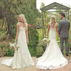 legant V-neck Lace Straps Sleeveless Court Train Lace Wedding Dress - Wedding Dresses - Weddings