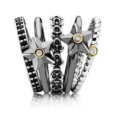 Pandora rings. Love the black silver star ring.