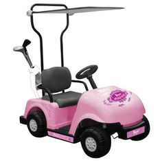 National Products 6V Golf Cart (Pink) by National Products. $234.99. From the Manufacturer                Our 6V rechargeable Ride On Golf Cart features foward and reverse gears, foot pedal accelerator, horn and back up warning buzzer and large realistic golf cart tires. The Golf Cart also features a canopy, toy golf bag, clubs, golf balls,tees, water bottle and holder. 6V battery and charger are included.                                    Product Description            ...