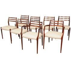 Set of Eight Moller Rosewood Dining Chairs | 1stdibs.com