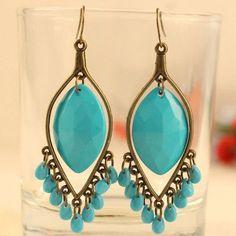 Turquoise Resin Bead Dangle Earrings