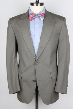 COOL Brooks Brothers Vtg Taupe Olive Cotton 40 R mens Suit #BrooksBrothers #ThreeButton