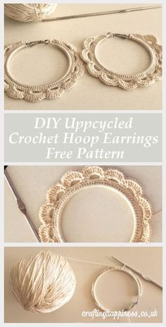 Upcycle a Pair of Old Hoop Earrings into Beautiful Crochet Earrings with this DIY Free Pattern - Crafting Happiness