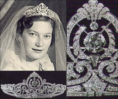 A close up of the central diamond motif of the Belgian scroll tiara and of Princess Josephine Charlotte wearing it on her wedding day.