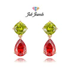 Classy Pear Ruby Drops - Jub Jewels  These drops feature our oval cut in peridot on top, and pear in classic ruby red at the bottom. The two parts are connected with a small movable hoop so that the drops dangle freely on the wearer. A truly an elegant choice.      18k Rose Gold Plating     AAA+ Swiss Cubic Zirconia     Handmade by Expert Craftsmen