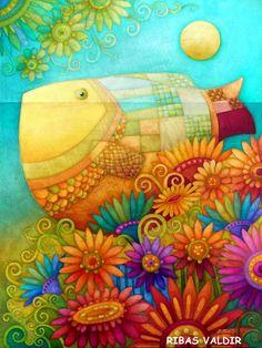 CRUCITA GUTIÉRREZ SEGOVIA: MIS AMIGOS PINTORES - RIBAS VALDIR Decoupage Vintage, Wal Art, Illustration Art, Illustrations, Tropical Art, Colorful Fish, Naive Art, Fish Art, Silk Painting