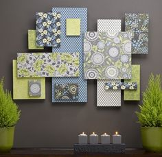 Fabric Wall Collage - very cool idea  way simple!!  Could be done a variety of ways  even add photos.  Or get a set of pillow cases that match kids bedding  cut those up to use for a homemade theme room.