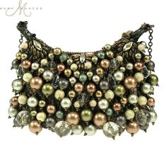 Mary Frances Goddess Mini Colorful Metallic Looking Multiple Round Beads & Baubles Handbag Shoulder Bag