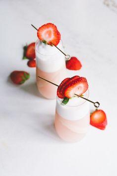 rhubarb + rosé ramos gin fizzes