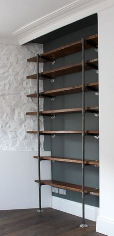 Reclaimed Scaffolding Boards and Steel Pipe Wall Mounted and Floor Standing Industrial Chic Shelving/Bookcase - Urban Design by carey