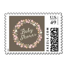 Charming Garden Floral Wreath Girl Baby Shower Postage Stamps