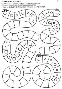 Snake tracing pattern page Preschool Learning, Kindergarten Worksheets, Preschool Activities, Baby Learning, Learning Letters, Teaching Math, Math Patterns, Doily Patterns, Dress Patterns