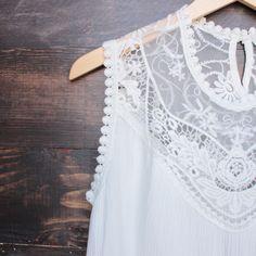 cleo in the skye yolk crochet lace tank in white