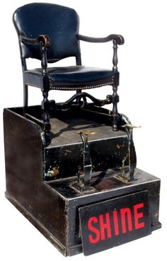 old school Shoe Shine stand, often associated with barber shops...memories of my father getting his shoes shined.