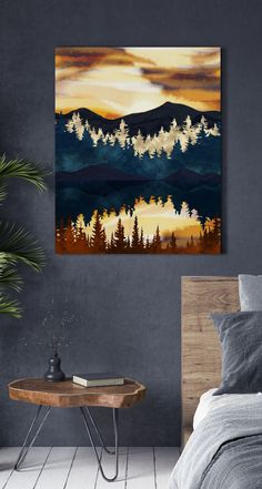 Looking for some artwork inspiration for your bedroom wall? This print will make a beautiful statement on the wall of your master bedroom. Placed above a wooden bed and styled with dark grey bedding and rustic wooden furniture, it will really create a space that's inspired by the outdoors. Complete the look by painting surrounding walls in a dark charcoal colour to get the ultimate dark bedroom look. Shop now at Wallsauce.com! *Metal prints only available in the UK