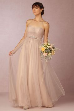 Annabelle Dress from @BHLDN Has the chiffon pieces of fabric on the front and can wear in 3-4 different ways.  TOP 10!