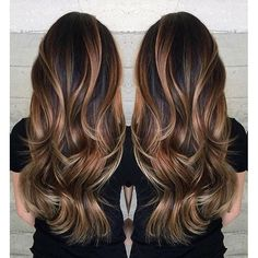 Gorgeous long brunette hair with rich blonde balayage hair color by Janai Hartt…