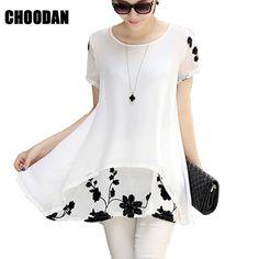 Women Blouses Summer Casual Clothing 2015 New Arrival Korean Style Plus  Size Ladies Chiffon Shirt Print Loose Tops blusas 09aec36db2f3