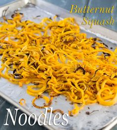 These Butternut Squash Noodles are made with a spiral slicer and then roasted in the oven. This recipe is a great grain free, gluten free, and paleo alternative to pasta.