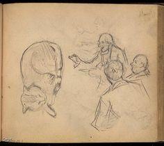 Edmond-Joseph Massicotte, Études d'un chat et de personnages écoutant un conteur, entre 1902 et 1904. Mine de plomb sur papier, 14,4 x 11,6 cm. Collection MNBAQ. #mnbaq #MuseumCats
