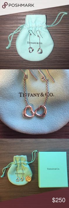 """TIFFANY open heart drop earrings From Elsa Peretti's collection. Drop earrings in sterling silver, for pierced ears. 2"""" long. Worn only a few times because it's not my style. Almost no signs of wear. Comes with original dust bag, box and ribbon. I just polished them with Tiffany's sterling silver polish. Guaranteed authentic Tiffany!⚡️OFFERS ARE WELCOME! ALL REASONABLE OFFERS WILL BE ACCEPTED⚡️ Tiffany & Co. Jewelry Earrings"""