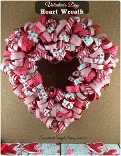 Valentine's Day Heart Wreath Tutorial step by step guide -DIY Valentine's Day Heart Wreath made out of paper!!  So easy and very colorful!