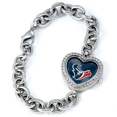 """BSS - Houston Texans NFL Ladies Heart Series"""" Watch"""" . $76.90. BSS - Houston Texans NFL Ladies Heart Series"""" Watch"""" The Heart Series features a bold full-colored face with an Offical Team logo. It features a heart shaped metal case with glistening rhinestones surrounding the genuine glass crystal. The bracelet is adjustable and made of stainless steel. The watch has the accuracy and reliabilty of a Japan Quartz movement; and is water resistant to 3 ATM (99 ft)..."""