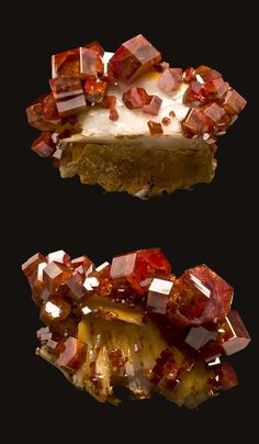 Vanadinite on Barite . Mibladén, Midelt, Khénifra Prov., Morocco /  Mineral Friends <3