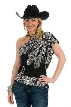 Moa Moa® Ladies Black and White Bandana One Shoulder Fashion Top   Price:  $24.00