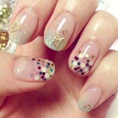 Geometric metallics mix beautifully with bright glitter dots