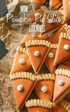 How to make mini-pumpkin pie slice cookies via Sweetsugarbelle.com #decoratedcookies