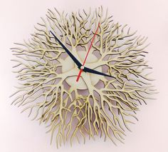 Handmade decorative wall clock , cut with precision laser cutter machine. All wood are in their natural color – texture without any dyeing process. Material: 4mm thick ash veneered plywood Mechanism: precision quartz mechanism – battery operated (1 x AA type) – battery not included. The