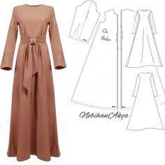 Long dress for hijabers Abaya Fashion, Muslim Fashion, Modest Fashion, Fashion Dresses, Dress Sewing Patterns, Sewing Patterns Free, Clothing Patterns, Sewing Clothes, Diy Clothes