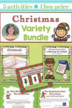 5 great holiday activities for speech-language therapy. Targets listening comprehension, oral expression, understanding jokes and humor,  open-ended reinforcement games holiday themed.