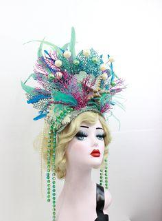 Mermaid Headpiece - Feather Showgirl Headdress - Las Vegas Showgirl - Burlesque Costume - Halloween Accessory - Mermaid Costume