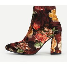 9e265882f8e SheIn(sheinside) Floral Print Block Heeled Ankle Boots ( 43) ❤ liked on Polyvore  featuring shoes