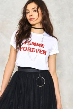 "We're with you, ladies. The Come Together Femme Tee features a crew neckline, relaxed silhouette, and ""Femme Forever"" graphic at front."