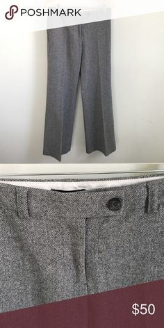 """J. Crew wide legged herringbone trousers Never go out of style wide legged trousers feature a subtle herringbone pattern. Pants are 80% wool, 18% nylon, 2% spandex. Fully lined, 95% polyester, 5% spandex. Inseam is 31"""". Belt loops and slash front pockets. J. Crew Pants Trousers"""