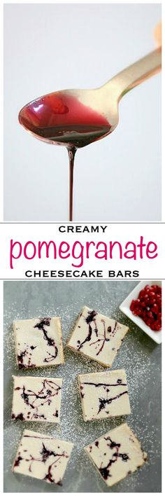 Creamy cheesecake bars with a pomegranate swirled with a pomegranate molasses reduction Cream Cheese Cheesecake, Easy No Bake Cheesecake, Mini Cheesecake Recipes, Best Cheesecake, Cupcake Recipes, Baking Recipes, Whole Food Recipes, Cupcake Cakes, Dessert Dips