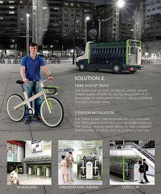 This ingenious bike sharing system, designed specifically for the city of Seoul, focuses on the problem of parking capacity in the urban environment where limited space is available. The minimal T-Bikes are contained in vending machine-like, compact modular stations that can be easily relocated to popular areas or even transported as a permanent installation on a truck for mobile delivery. Simply locate and check out bikes directly from a smartphone!    Designer: Jung Tak