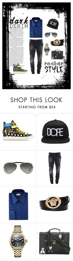 """""""Preppy Fresh"""" by vcoutureglam ❤ liked on Polyvore featuring Giuseppe Zanotti, Forever 21, Ray-Ban, Dsquared2, Brioni, Versace, Vivienne Westwood, Dolce&Gabbana, men's fashion and menswear"""