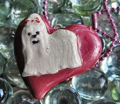 OOAK Handcrafted Maltese Puppy Dog Clay Resin Pendant Necklace by Bren | eBay