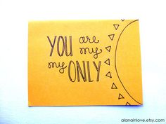 you are my sunshine hand-drawn card by alanainlove on Etsy