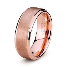 8mm Rose Gold Tungsten Mens Wedding Band