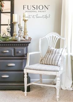 A yard sale Duncan Phyfe chair gets a Magnolia Home style French inspired makeover using Fusion Mineral Paint in creamy white Raw Silk. White Painted Furniture, Paint Furniture, Furniture Makeover, Furniture Ideas, Chair Makeover, Furniture Refinishing, Furniture Inspiration, Repurposed Furniture, Vintage Furniture