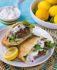 Mediterranean Lamb Burger. Wonder how to make this gluten-free..